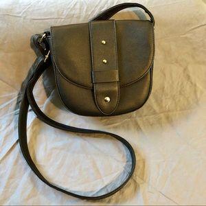 Black vinyl faux leather crossbody bag